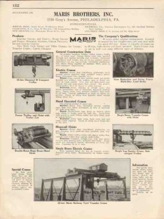Maris Brothers Inc 1931 Vintage Catalog Cranes Trolleys Hand Electric