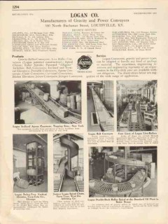Logan Company 1931 Vintage Catalog Conveyors Belt Gravity Roller Power