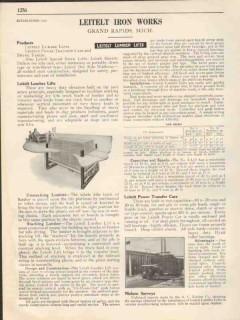 Leitelt Iron Works Inc 1931 Vintage Catalog Lumber Lift Power Transfer