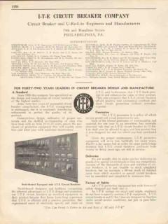 I-T-E Circuit Breaker Company 1931 Vintage Catalog Electrical Design