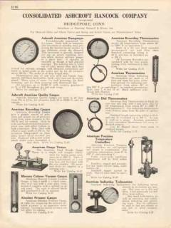 Consolidated Ashcroft Hancock Company 1931 Vintage Catalog Gauges Gage