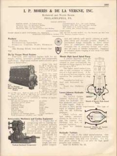I P Morris De La Vergne Inc 1931 Vintage Catalog Diesel Engines Pumps