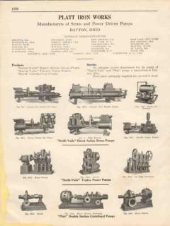 Platt Iron Works 1931 Vintage Catalog Pumps Smith-Vaile Steam Power