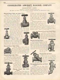 Consolidated Ashcroft Hancock Company 1931 Vintage Catalog Valves z795