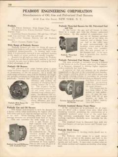 Peabody Engineering Corp 1931 Vintage Catalog Fuel Burner Oil Gas Coal