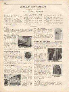 Clarage Fan Company 1931 Vintage Catalog Air Washer Humidifier Blower