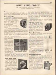 Bayley Blower Company 1931 Vintage Catalog Fan Heater Unit Plexiform