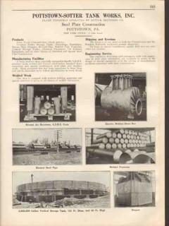 Pottstown-Sotter Tank Works Inc 1931 Vintage Catalog Steel Plate