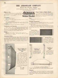 Aeroshade Company 1931 Vintage Catalog Window Shades Wood Slat Aerolux