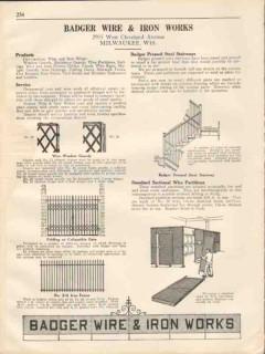 Badger Wire Iron Works 1931 Vintage Catalog Window Guard Gate Stairway