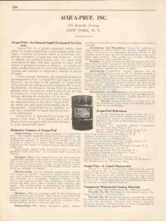 Acqua-Pruf Inc 1931 Vintage Catalog Waterproofing Integral Concrete