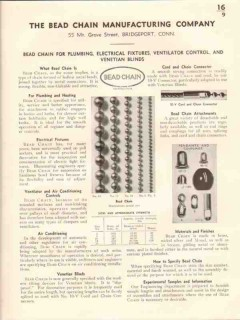 Bead Chain Mfg Company 1941 Vintage Catalog Plumbing Electrical Blinds