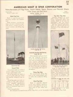 American Mast Spar Corporation 1941 Vintage Catalog Metal Flag Poles