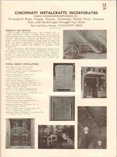 Cincinnati Metalcrafts Inc 1941 Vintage Catalog Metal Ornamental Work