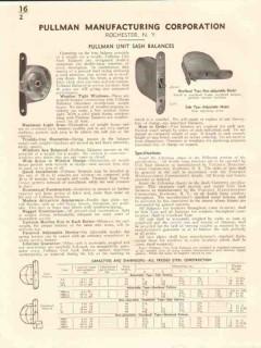 Pullman Mfg Corp 1941 Vintage Catalog Window Unit Sash Balances