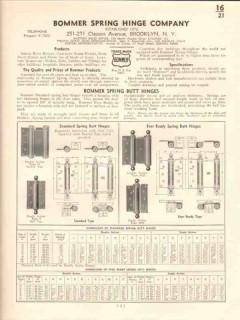 Bommer Spring Hinge Company 1941 Vintage Catalog Butt Floor Flange