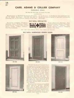 Carr Adams Collier Company 1941 Vintage Catalog Doors Bilt-Well Veneer