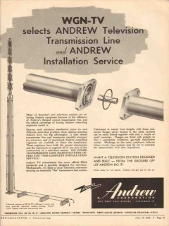 andrew corp 1948 wgn-tv transmission line install service vintage ad