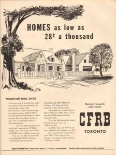cfrb 1948 toronto canada radio station potential homes vintage ad