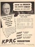 kprc 1948 houston tx 950 radio station first south media vintage ad