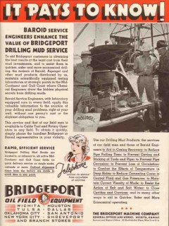 Bridgeport Machine Company 1936 Vintage Ad Baroid Drilling Mud Service