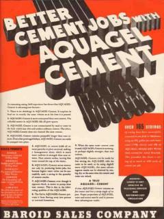 Baroid Sales Company 1936 Vintage Ad Oil Well Aquagel Cement Jobs