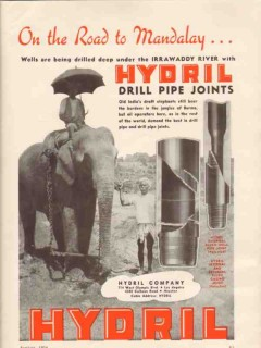 Hydril Company 1936 Vintage Ad Oil Drill Pipe Joint Mandalay Burma