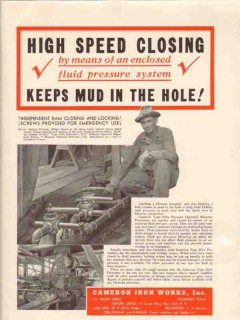 Cameron Iron Works 1936 Vintage Ad Oil Driller Britton Vincent Closing