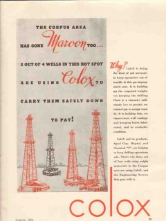 Colox 1936 Vintage Ad Oil Drilling Fluids Spud Clay Meptol Chemical Z