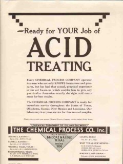 Chemical Process Company 1936 Vintage Ad Oil Gas Wells Acid Treating