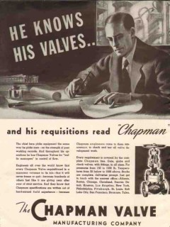 Chapman Valve Mfg Company 1936 Vintage Ad Oil Field Pipe Requisition