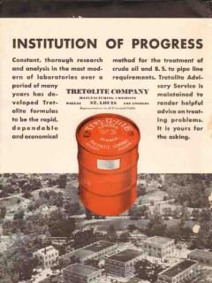 Tretolite Company 1936 Vintage Ad Oil Gas Petroleum Drilling Progress