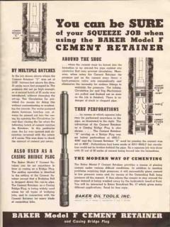 Baker Oil Tools Inc 1936 Vintage Ad Sure Squeeze Job Cement Retainer