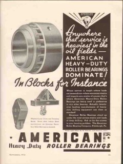 American Roller Bearing Company 1936 Vintage Ad Heaviest Oil Service