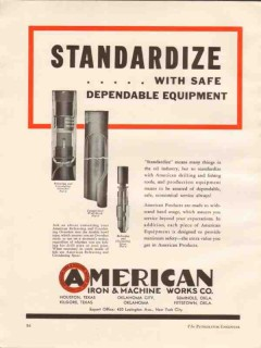 American Iron Machine Works 1936 Vintage Ad Oil Standardize Safe