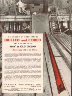 Cameron Iron Works 1936 Vintage Ad Oil Field Barrel Drilled Cored