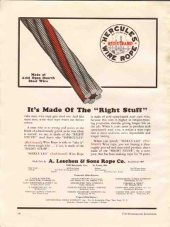 A Leschen Sons Rope Company 1936 Vintage Ad Hercules Red Strand Wire