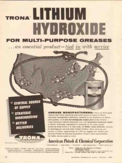 American Potash Chemical Corp 1956 Vintage Ad Lithium Hydroxide Grease