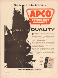 Anderson-Prichard Oil Corp 1956 Vintage Ad Quality Petroleum Products
