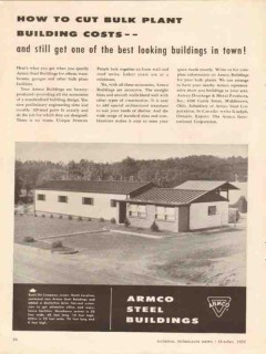 Armco Steel Corp 1956 Vintage Ad Oilfield Cut Bulk Plant Building Cost