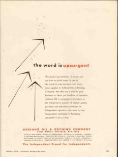 Ashland Oil Refining Company 1956 Vintage Ad Upsurgent Profit Faster