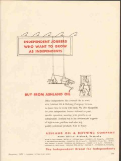 Ashland Oil Refining Company 1956 Vintage Ad Independent Jobbers Grow