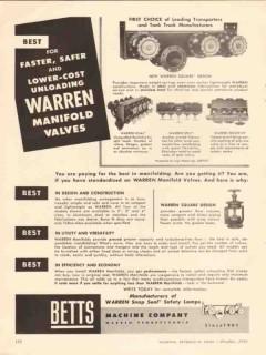 betts machine company 1956 warren manifold valves faster vintage ad