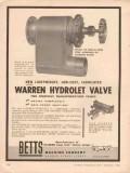 betts machine company 1956 warren hydrolet valves highway vintage ad