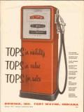 bowser inc 1956 tops visibility value sales orange pump vintage ad