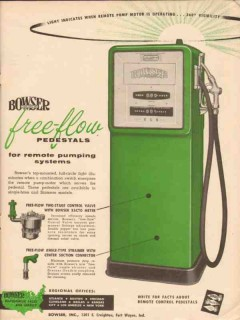bowser inc 1956 free-flow pedestal green remote pumping vintage ad