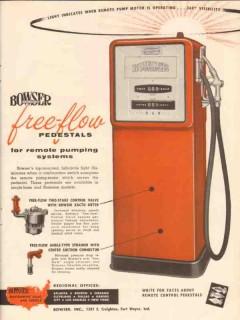 bowser inc 1956 free-flow pedestal orange remote pumping vintage ad