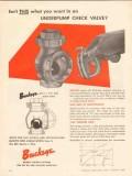 buckeye iron brass works 1956 underpump ball check valve vintage ad