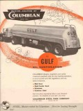 Columbian Steel Tank Company 1956 Vintage Ad Gulf Oil Gasoline Truck