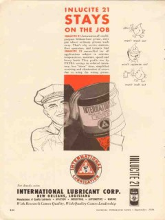 International Lubricant Corp 1956 Vintage Ad Inlucite Grease Stays